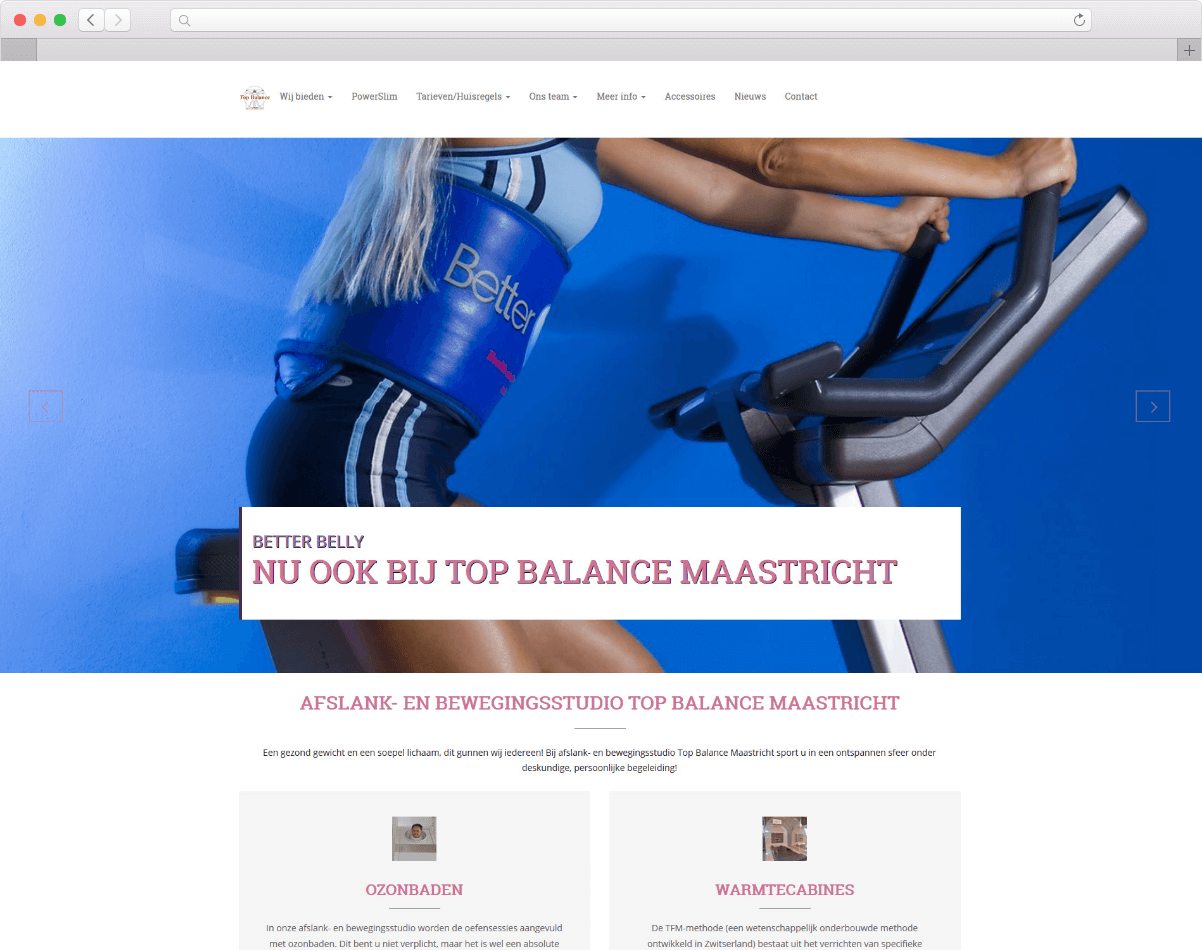 Website Afslanstudio Top Balance Maastricht